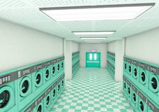 Empty Laundromat Clean. A look down a well lit clean aisle of turquoise industrial washing machines in a laundromat - 3D render Royalty Free Stock Image