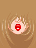 Look of fair-haired girl with red lips Royalty Free Stock Photos