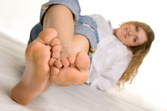 Look at feet Stock Photography