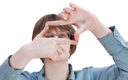 Look through fingers frame - hand gesture Stock Photography