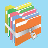 Look folder. Colorful folder Locked by key silver Stock Images