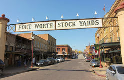 A Look at the Fort Worth Stockyards Historic District. FORT WORTH, TEXAS, MARCH 15. The Fort Worth Stockyards on March 15, 2017, in Fort Worth, Texas. A Welcome royalty free stock photos