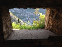 Look through from the fortifications of Kotor Stock Photos