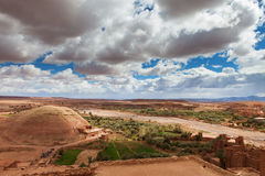 Look from fortified City (Ksar) with Mud Houses. In the Kasbah Ait Benhaddou near Ouarzazate, Morocco stock images