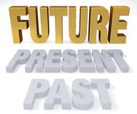 Look Forward To The Future. Plain gray PAST and PRESENT lead to a bright, gold FUTURE.  Focus is on FUTURE.  on white Stock Image