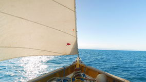 Look at the Front of the Sail Boat on the Sea. Boat riding on the caribbean sea, wind powered sail boat, copy space