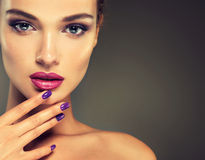 Look full of passion. Luxury fashion style, nails manicure, cosmetics, make-up .Look full of passion Royalty Free Stock Photography