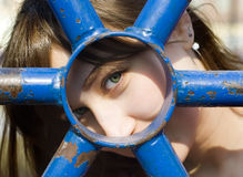 Look of girl. Through a circle Royalty Free Stock Image