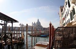 Look through the gondolas-Santa Maria de la Salute Venice Italy 2019. An artistically noted moment. Famous churches in Venice royalty free stock photography