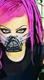 Original vector image of a girl with pink hair. Look gothic girl original vector image graphic drawing pink hair neformal respirator vector illustration
