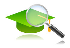 Look for graduate only. Vector illustration of magnifying glass over graduation hat, concept for companies and sites looking after graduate young men and women Royalty Free Stock Photography