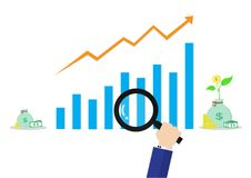 Look at graph by use magnifying glass. Look at arrow up and graph with money and tree by use magnifying glass Royalty Free Stock Photography