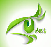 Look green. Eco icon Look green - eye with lashes-leaves Royalty Free Stock Photo