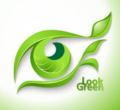 Look green. Eco icon Look green - eye with lashes-leaves Royalty Free Stock Image