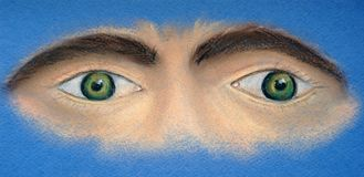 Sight. Two eyes. Fragment of the face stock photos