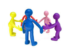 Look on group of plasticine colored puppets Stock Photography
