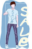 Drawing of a young man in T-shirt Stock Photos