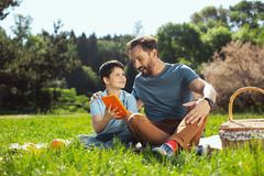 Exuberant daddy spending time with his son Stock Photography