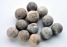 Look at historic musket balls into Royalty Free Stock Photo