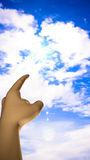 Look Hopeful Hand Pointing Towards Sky Stock Image