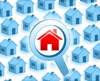 Look for a house. Blue red illustration Stock Image