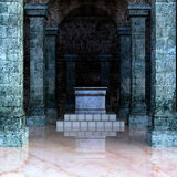 Look inside the crypt for the sarcophagus on the stairs Royalty Free Stock Image
