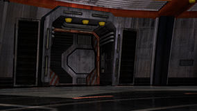 Look inside the spaceship. Closed the iron door Stock Images