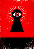 Look through the keyhole. Red and black poster with  keyhole and eye Stock Photo