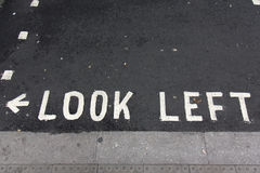 Look left sign, London street Stock Images