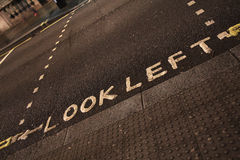 Look left sign on a London street Royalty Free Stock Photos