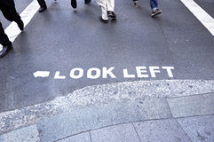 LOOK LEFT sign on the street Stock Photo