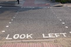 Look Left warning on the road in London Royalty Free Stock Photography
