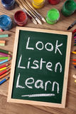Look Listen Learn school education reading writing concept Stock Photography
