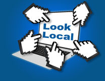 Look Local concept. 3D illustration of Look Local script with pointing hand icons pointing at the laptop screen from all sides Stock Photography
