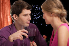 Look of love and wine Royalty Free Stock Image