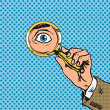 Look through a magnifying glass searching eyes pop. Art comics retro style Halftone. Imitation of old illustrations royalty free illustration