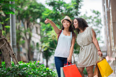 Look at this mall. Copy-spaced image of young shopaholics pointing at the mall standing outside royalty free stock photos