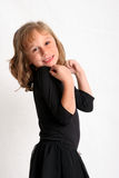 Look at me. Young girl smiling with hands pointed toward herself Stock Images