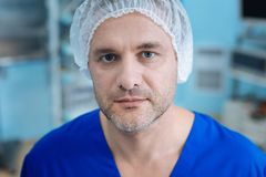 Portrait of tired doctor that going to rest royalty free stock photo