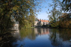 Look on Minnewater. The love lake as minnerwater is located in the picturesque city of Bruges, in the center of the most beautiful city of Belgium royalty free stock photos