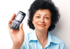 Look On The Mobile. Stock Photo