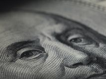 Look of money. Macro picture of portrait of president on one hundred to dollar banknote Stock Photo
