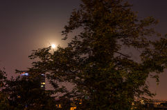 Look on moon and nightsky over Zagreb. Moon over city of Zagreb. Photo taken from Strossmayer Promenade Royalty Free Stock Image