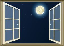Look at the Moon thru opened window Stock Photos