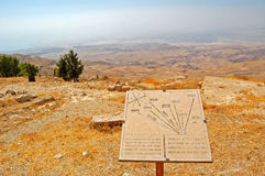 Look from Mount Nebo. Mount Nebo hill, place of Moses grave, to the Jerusalem Royalty Free Stock Images