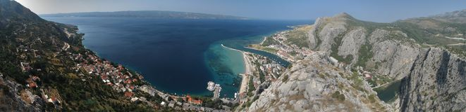 Look from the mountains to town Omis Stock Photography