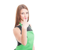 Look into my eyes gesture with young employee Royalty Free Stock Images