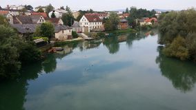 Look at Novo mesto, Slovenia. Situated on a bend of the river Krka. Photos filmed on 03.08.2014 year Royalty Free Stock Images