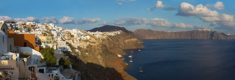 The look from Oia to east in evening light. Royalty Free Stock Photography