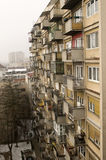 Look at the old eight-floor building. During the beautiful winter day in Novi Sad, Serbia Stock Image
